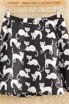Black A-Line Skater Skirt with Cat Prints