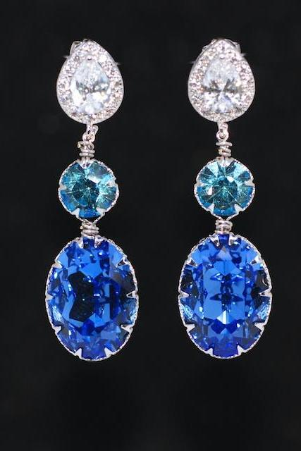 Cubic Zirconia Teardrop Earring with Swarovski Aquamarine Round, Sapphire Blue Oval Crystals - Wedding Jewelry, Bridal Earrings (E693)