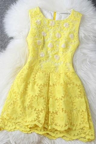 Yellow or White Floral Embroidered Organza Summer Dress