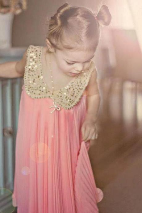 Girls Peach Pink Dress-Pink Dress Chiffon Summer Dress Sparkling Sequined Peter Pan Collar Fancy Dress