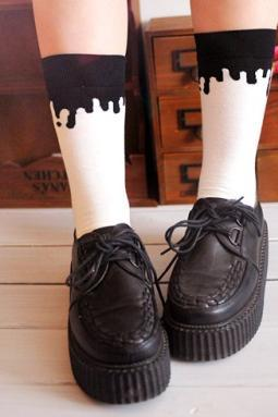 Amo zipper milk drop women socks ice cream drop cotton socks two colors in stock