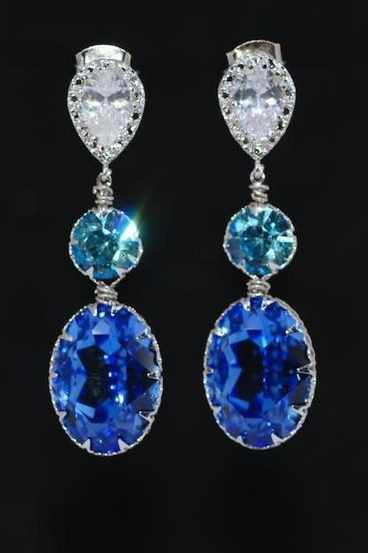 Cubic Zirconia Teardrop Earring with Swarovski Aquamarine Round, Sapphire Blue Oval Crystals - Wedding Jewelry, Bridal Earrings (E694)