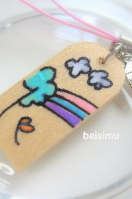 Sky, Nature on wood. Hand painted zipper pull, bag charm, strap