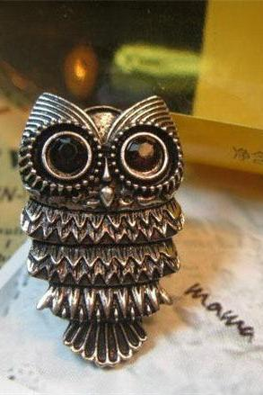 vintage owl ring , adjustable ring ,red Ring, white Ring