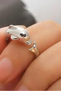silver dolphin ring opening ring, adjustable ring ,red Ring, white Ring