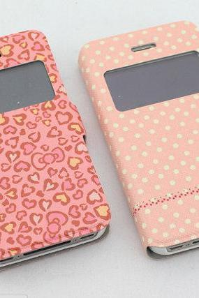 Dot Cute iPhone 4s Phone Case ,Unique iPhone 4 Flip Case Hearts Printing iPhone 4s Flip Case, Cute iPhone 4 Case ,iphone 4/ 4s otterbox