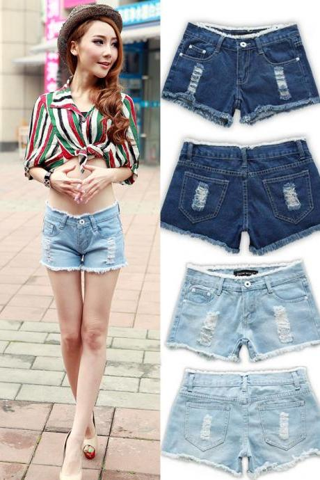 Medium Rise Raw Edge Ripped Denim Shorts - Plus Size Available