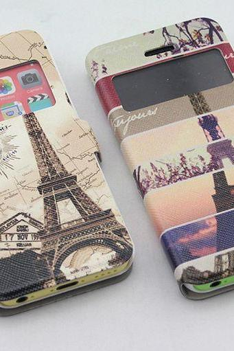 Pretty iPhone 5c Folio Eiffel Art iPhone 5c Case ,iphone 5c flip case, iphone 5c otter box, iphone 5c tough case, iphone 5c phone cover