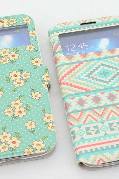 Flower Printing Samsung Galaxy S4 Floral Case Unique Samsung S4 Phone Case, Floral samsung s4 galaxy case, samsung s4 flip case, flower samsung s4 case