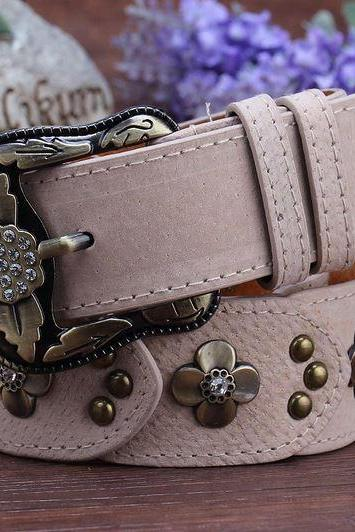 Gorgeous Pink Vintage Style Genuine Leather Belt With Beautiful Faux Diamonds