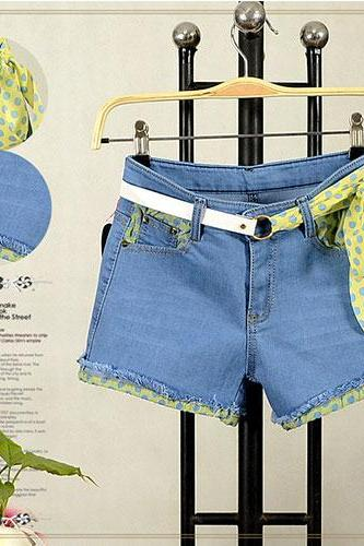 Light Blue Polka Dots Bowknot Fringed Denim Cutoffs Shorts