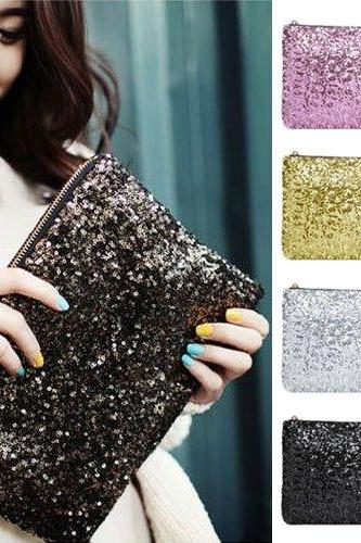 Women Ladies Sparkling Bling Sequin Clutch Purse Evening Party Handbag Bag