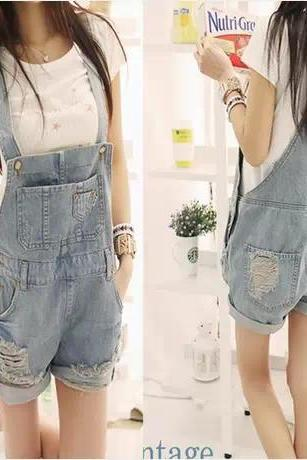 Casual suspenders Siamese pants Jeans