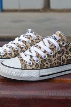 Leopard Print Canvas Lace-Up Sneakers