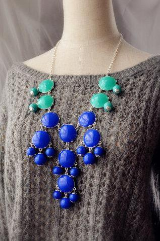 Bubble Necklace Statement Necklace Turquoise and Royal Blue