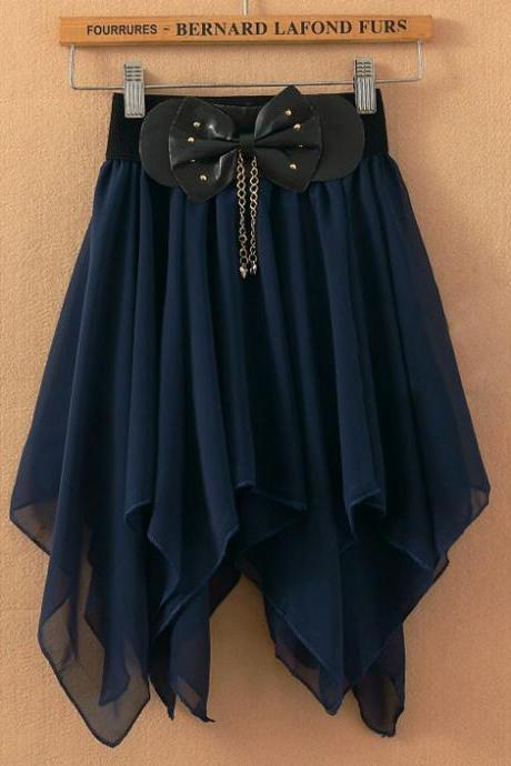Irregular Pleated Bow Chiffon skirts AECHCA