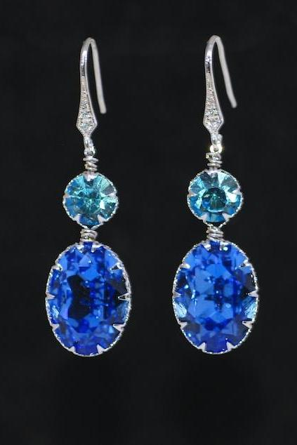 Cubic Zirconia Detailed Earring Hook with Swarovski Round Aquamarine, Sapphire Blue Oval Crystals - Wedding Jewelry, Bridal Earrings (E695)