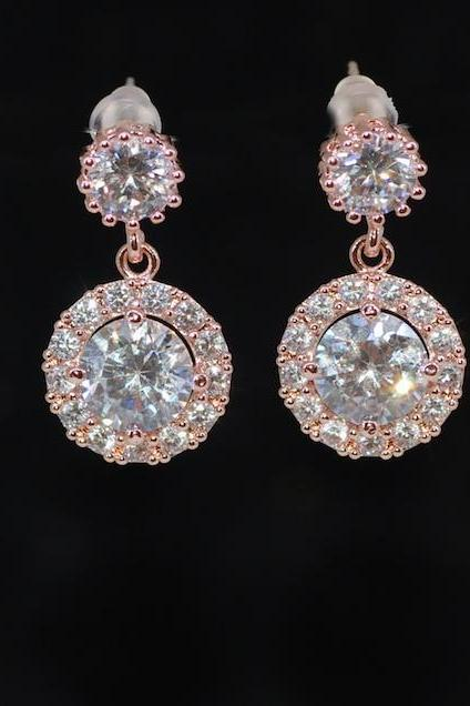 Wedding Earrings, Bridesmaid Earrings, Bridal Jewelry - Rose Gold Plated Cubic Zirconia Round Earring with Round Cubic Zirconia (E690)