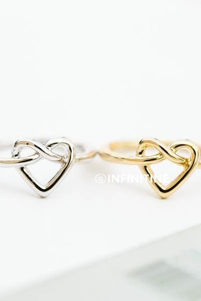 love tie knot heart knuckle ring,heart knuckle ring,knuckle ring,brass knuckle,heart ring,knuckle jewelry,mid knuckle ring,wedding ring,bridesmaid ring,bridesmaid gift,RN2437