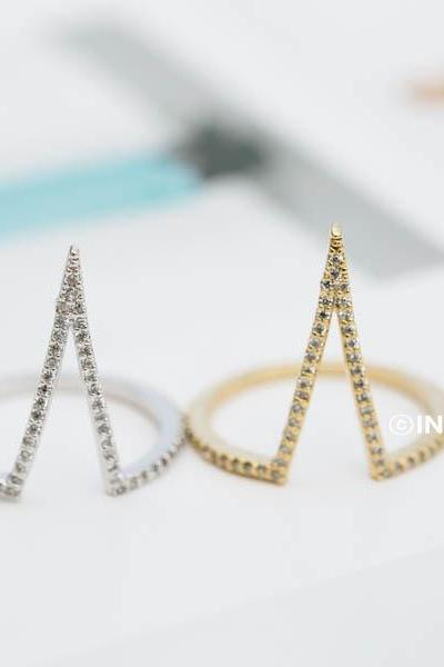 cz long chevron ring,chevron ring stack,chevron rings,gold chevron rings,stacking rings,stacking ring set,chevron ring sets,chevron jewelry,RN2449