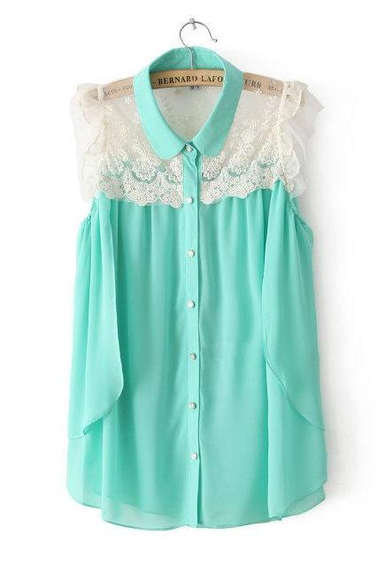 Sweet lace chiffon shirt Ayl