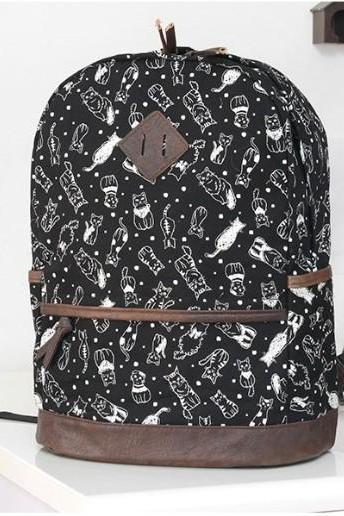 Leisure Sweet Cat Print Backpack
