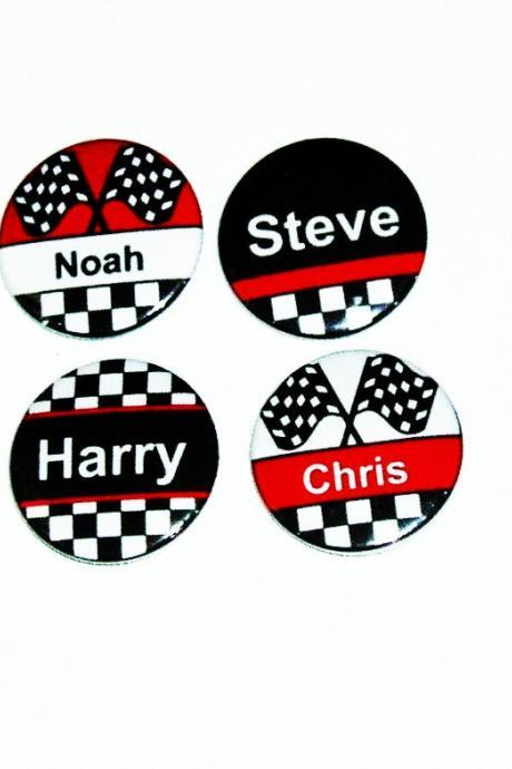 Pinback button badges - Racing Driver name badges - 3 sizes