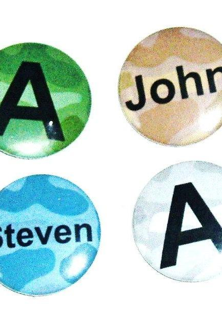 Pinback button badges - Camo name badges - 3 sizes