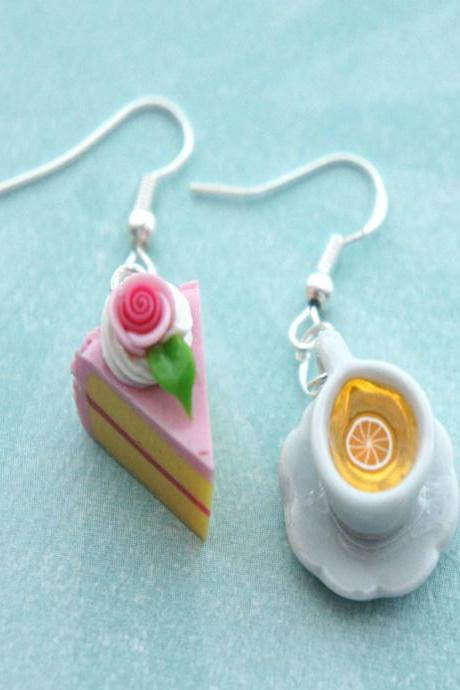 cake and lemon tea earrings