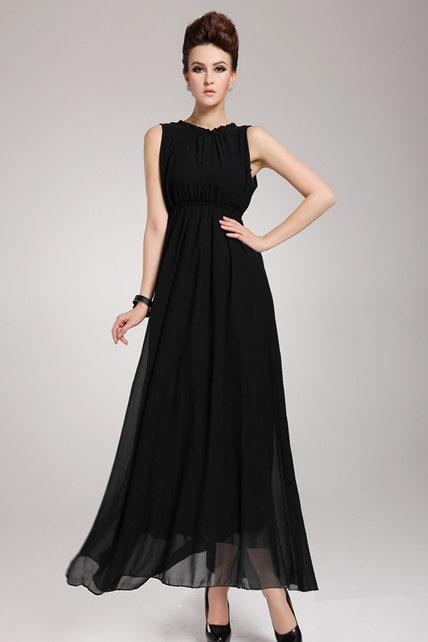 Captivating Open Back Sleeveless Black Chiffon Long Dress