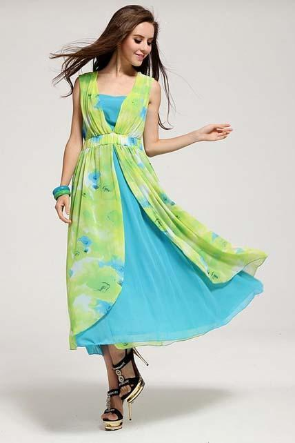 Fashion Two Pieces Design Floral Sleeveless Beach Dress