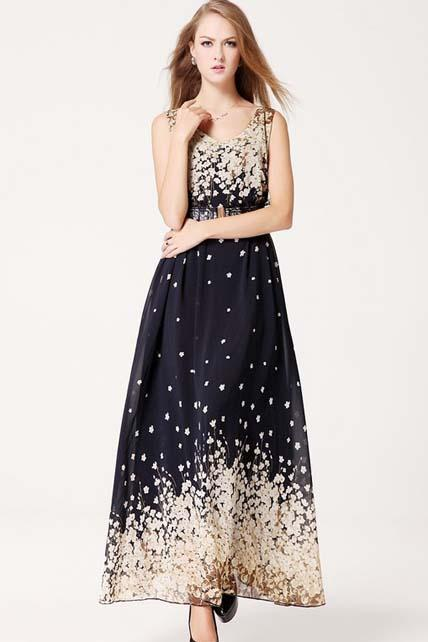 Graceful V Neck Sleeveless Flower Print Prom Dress