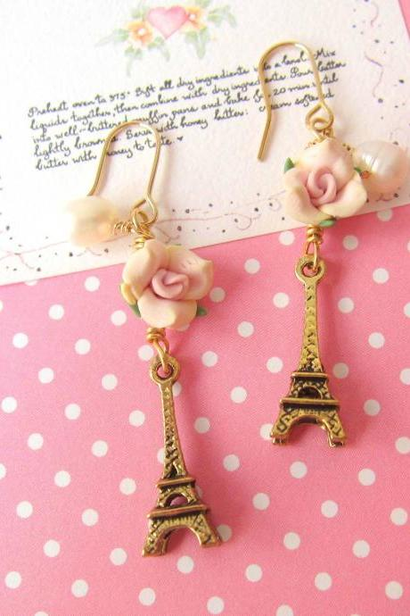 Amour Pour Eiffel Earrings - 14K Gold-filled, Mini 3D Eiffel Tower
