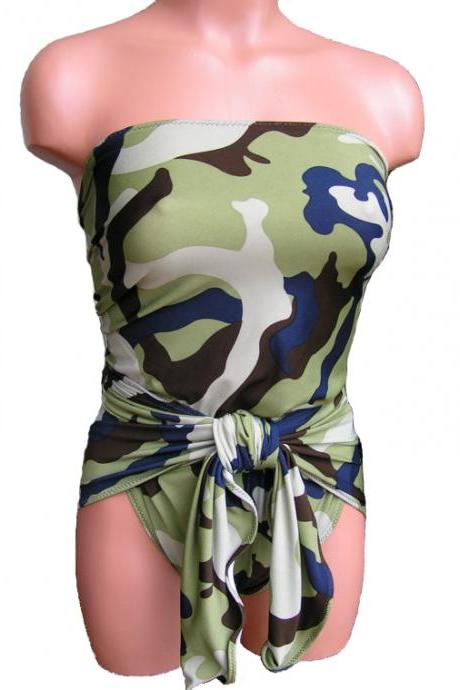 Bathing Suit Small Wrap-around Swimsuit Camouflage Petite