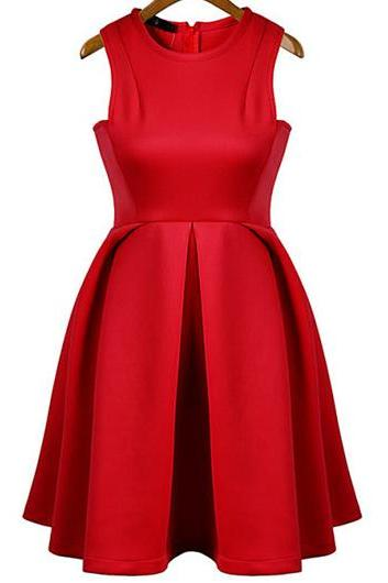 Elegant Solid Sleeveless Pleated Dress for Woman - Red