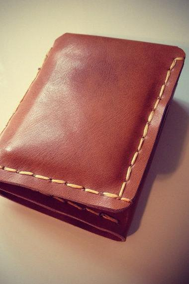 Mens Saddle Tan Leather Trifold Wallet