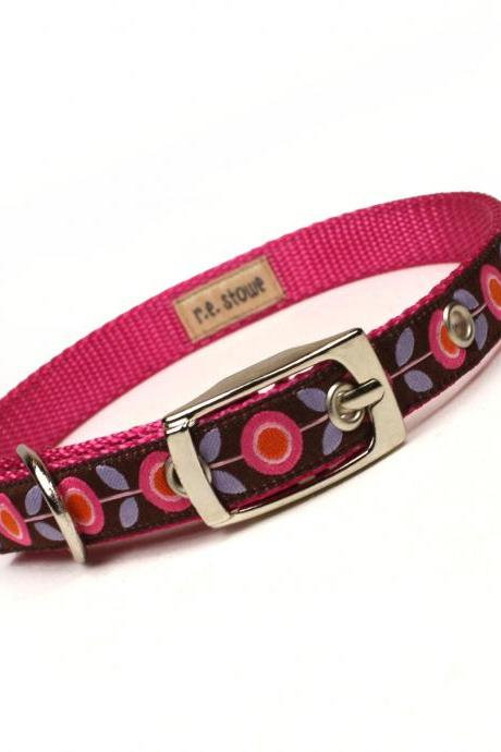 pink and brown mod flora metal buckle dog or cat collar (1/2 inch)