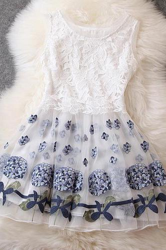 Designer Gorgeous Embroidered Lace Dress For Women - White