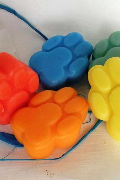 Children's Paw Soaps, red, yellow, blue, green, orange. Soap Art by Scentcosmetics