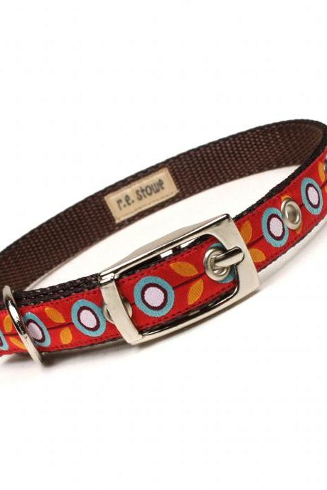 orange and brown mod flora metal buckle dog or cat collar (1/2 inch)