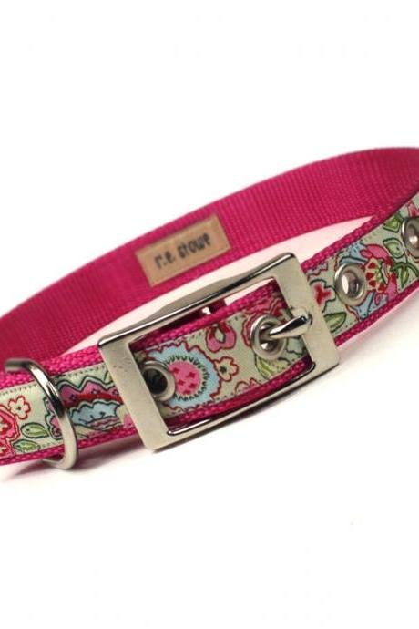 pink and green jacobean metal buckle dog collar (3/4 inch)