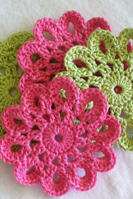 Crochet Coasters, Doilies, Embellishments - 2 Candy Pink & 2 Lime Green