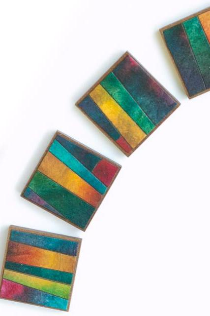 Square Magnets Striped Handmade Paper