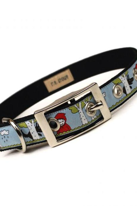 little red riding hood metal buckle dog collar (3/4 inch)