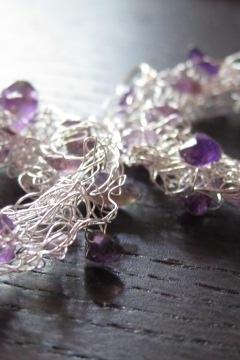 Large Grape Earrings: knitted wire and amethysts on sterling silver ear wires