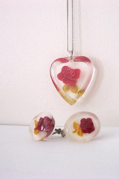 Vintage Lucite Rose Pendant Necklace and Earrings Set