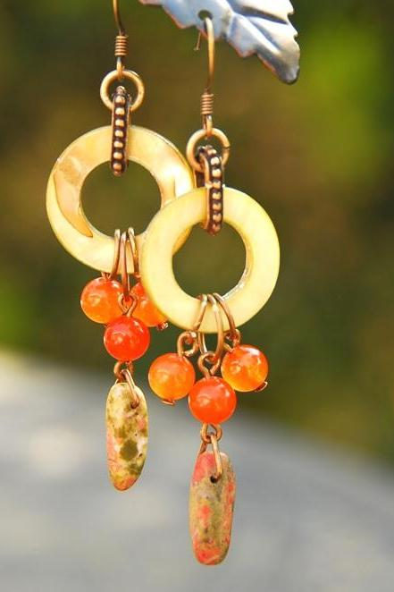 Orange Green Shell Earrings