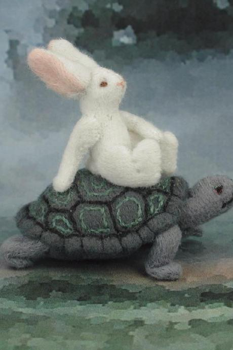 The Tortoise and the Hare fabric miniature