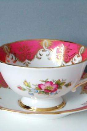 Vintage Teacup and Saucer Set by Paragon in Bubble Gum Pink and Gold Gilt