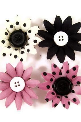Magnets, Handmade Decorative Magnets, Flower and Button Bottle Cap Magnets, Black, White, Black Raspberry, Polka Dots
